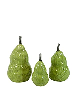 Set of 3 Ceramic Pears, Green
