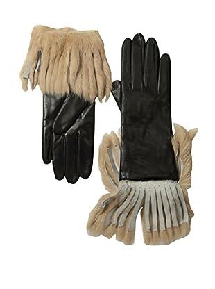 Portolano Women's Leather Gloves with Fringed Rabbit Fur Cuff (Black/Camel)
