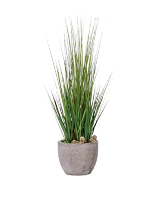 Lux-Art Silks Grass in Large Cement Pot, Green