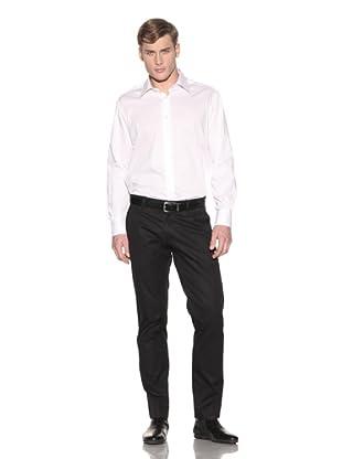 Valentino Men's Dress Shirt (White Small Stripe)