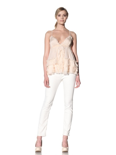 D&G by Dolce & Gabbana Women's Tiered Ruffle Camisole (Peach)
