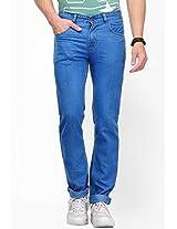 Solid Blue Regular Fit Jeans