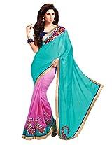 Gopalclothdesigner Art Silk Resham Saree (iwgy116a_Blue Pink)