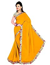RoopSangam Sarees Plain Yellow Chiffon Lacy Border Saree (Party And Daily Wear)