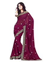 Sourbh Saree Magenta Faux Georgette Must Have Best Sarees for Women Party Wear, Special Karwa Chauth Gifts for Wife, Women Clothing Collection
