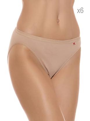 Pierre Cardin Pack x 6 Braguitas Bikini Algodón (Piel)