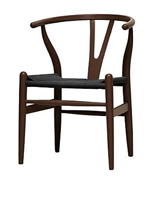 Baxton Studio Mid-Century Modern Wishbone Chair, Dark Brown/Black