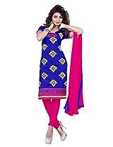 vardhman Sahiba Blue Chanderi Straight Unstitched salwar suit dress material