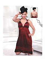 Indiatrendzs Women's Sexy Hot Nighty Maroon 2pc Set Bedroom Sleepwear Freesize