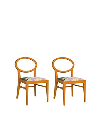 Set of 2 Dining chair Armless, Orange