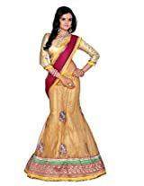 Surupta Golden Coloured Self Design Women's Lehenga Choli