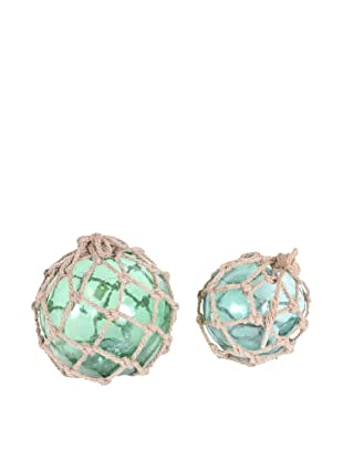 Pair of 1920's Fishing Net Floats, Green/Tan/Turquoise