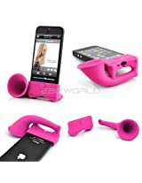 GB For Apple iPhone 4 4S Portable Silicone Horn Stand Audio Dock Amplifier Speaker Pink