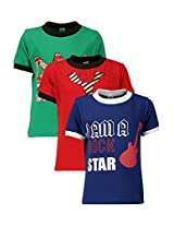 Goodway Junior Boys Colour Style-10 Theme Combo Pack of 3 T-Shirts - 2-3 Years