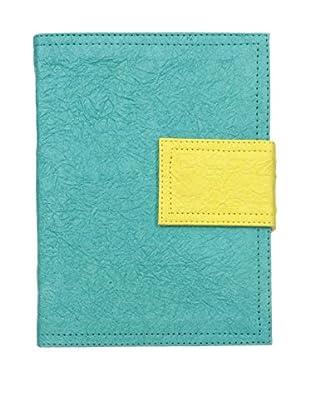 Marina Vaptzarov Medium Soft Vegetal Leather Cover Travel Diary, Turquoise/Yellow