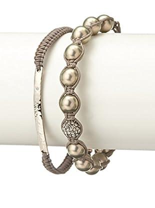 Tai Grey Bead & Bar Braided Two-Piece Bracelet Set