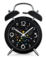 4-inch Retro Double Bell Bedside Non-Ticking Alarm Clock with Backlight (Colorful Cubes Clock Face)
