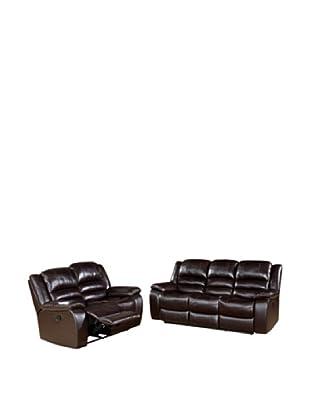 Abbyson Living Levari Reclining Leather Sofa & Loveseat, Dark Truffle
