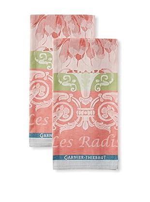 Garnier-Thiebaut Set of 2 Radis Kitchen Towels, Rose