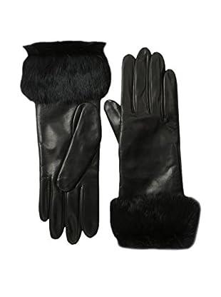 Portolano Women's Leather Gloves with Rabbit Fur Cuff (Black/Black)