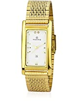 19145CMGY Gold/White Analog Watch