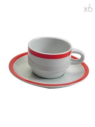 Table Set 6 Tazze Caffè con Piattino Riviera (Rosso)