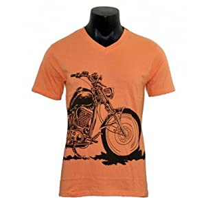 Bike Rider - Orange - V neck T-shirt