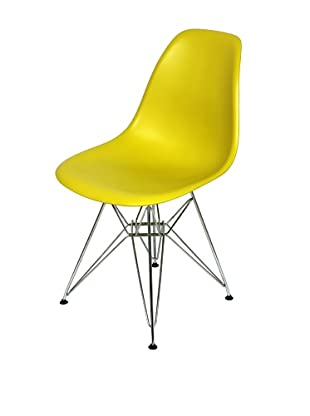 Control Brand Mid-Century-Inspired X-Leg Dining Chair, Neon Yellow