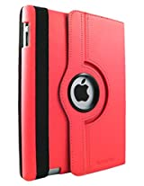 Sanoxy iPad 2/3/4 Case - 360 Degree Rotating Stand PU Leather Case Cover with Auto Sleep / Wake Feature for  iPad 2/3/4, Red (SANOXY-360IPAD2-CASE)