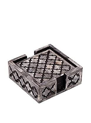 Purva Set of 4 Cut Alhambra Coasters with Holder, Grey