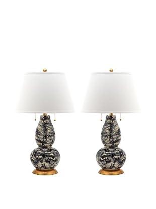 Safavieh Set of 2 Color Swirls Glass Table Lamps, Black/White
