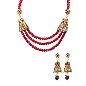Red Beads And Golden Diamantes Necklace Set