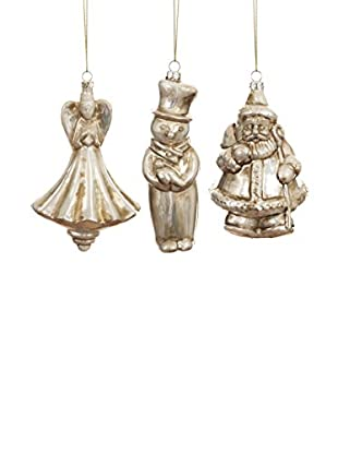 Winward Vintage Luster Holiday Ornament 3 piece Set, Antique Silver