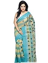 Light Yellow and Aqua Blue Bengal Handloom Cotton Saree with Blouse