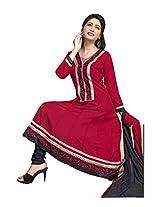 Khushali Women's Semi-Cotton Unstitched Anarkali Salwar SuiT Dress material(maroon,black)