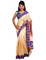 Diva Women's Crepe Saree (Cream and Gold )