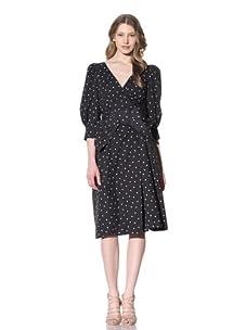 Chloé Women's Printed Cotton Wrap Dress (Navy)