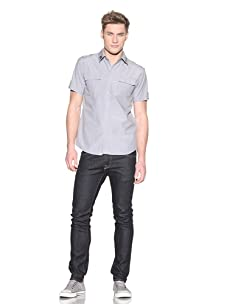 ONE90ONE Men's Military Man Button-Front Shirt (Grey)