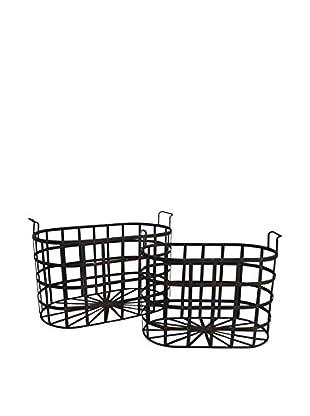 Three Hands Set of 2 Metal Baskets
