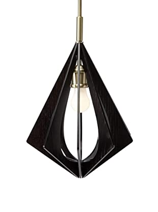 Woodbridge Lighting Canopy Wood Slat Foresee Mid-Pendant, Classic Brass