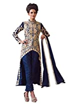 Suchi Fashion Blue Embroidered Bhagalpuri Semi Stitched Salwar Suit