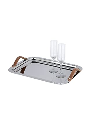 Sidney Marcus Hampton Too Tray with Leather Handles, Silver
