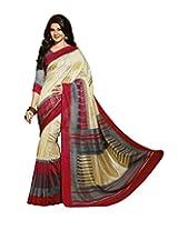 Bhavi Printed Minakari Silk Sari with Foil Print