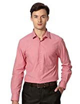 Peter England Pink Slim Fit Full Sleeved Shirt