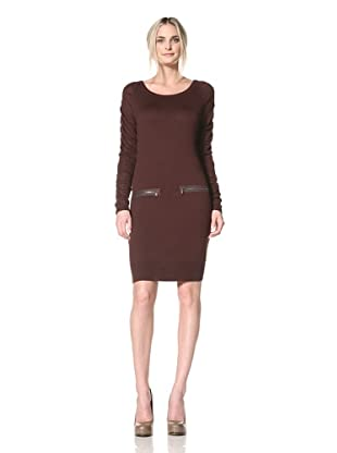 Marc New York Women's Sweater Dress with Ruched Sleeves (Tobacco)