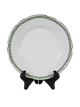 French Limoges Cake Stand, White/Green/Gold