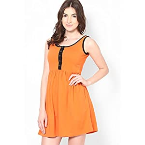 Orange Colored Solid Skater Dress Stilestreet