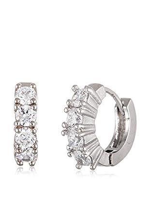 Annabella Lilly 18K White Gold CZ Huggie Earrings