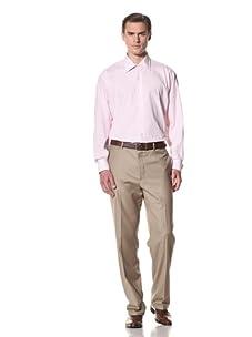 Domenico Vacca Men's Striped Button-Up Shirt (White/Thin Pink Stripes)