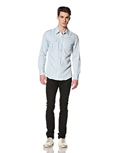 Brent Wilson The Basics Men's City Cowboy Fitted Shirt (Sky/white)